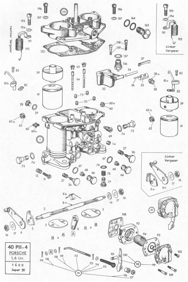 pelican parts  porsche 356b solex carburetor 40 pii
