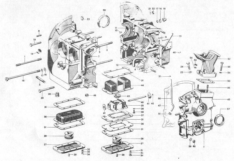 pelican parts porsche 356b engine case & oil sump 912e engine porsche 356 engine diagram #31