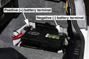 The battery in BMW E46 models is located in the right side of trunk, behind a trim panel.