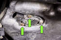 Then remove the 3 mounting nuts from oil level sensor (green arrows).