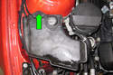 Remove 10mm washer reservoir fastener then lift washer tank up to access washer pump (green arrows).