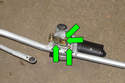 Remove wiper motor fasteners (green arrows), then remove wiper motor from linkage.