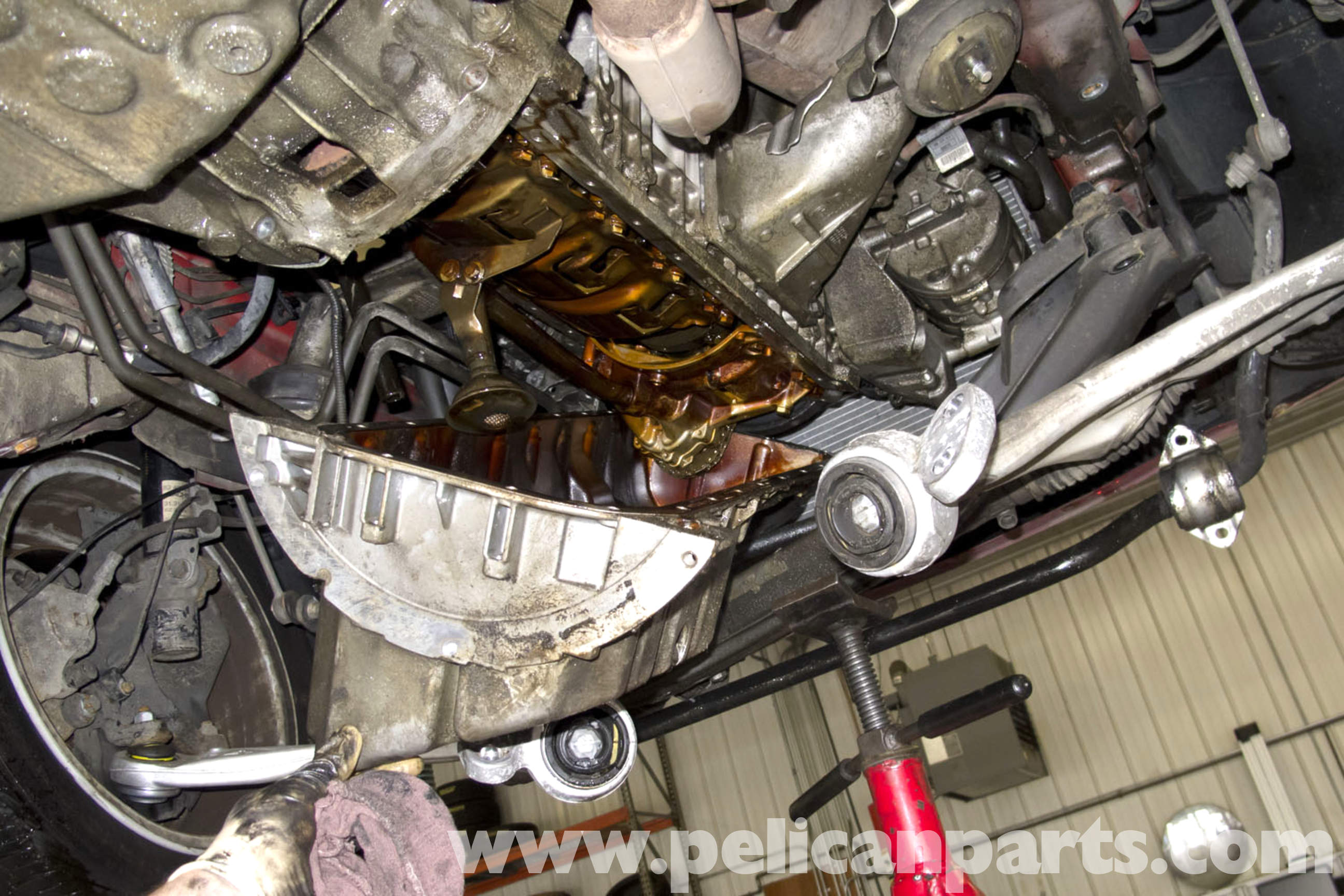how to clean crankcase with oil pan off