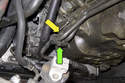 Next you have to remove the transmission cooler line mount from the engine.
