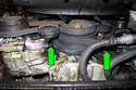 Coolant leaking down the front of engine could be water pump or thermostat housing.