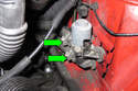 Loosen hose clamps (green arrows) then remove coolant hoses from heater valve.