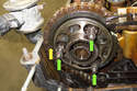 Install the exhaust camshaft sprocket with the timing chain onto the exhaust camshaft.
