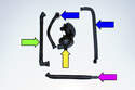 Crankcase breather parts: hose to valve cover (green arrow), crankcase breather valve (yellow arrow), drain hose (purple arrow), hoses to the intake manifold (blue arrows).