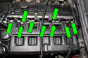 Remove the nine 11mm intake manifold nuts (green arrows).