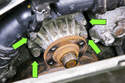 Remove four 10mm water pump pulley fasteners (green arrows).