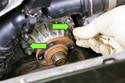 To remove your water pump from the timing cover, thread two M6 bolts into the sides of water pump.