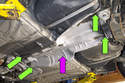 Remove the heat shield fasteners (green arrows), then remove the heat shield (purple arrow) from the vehicle.