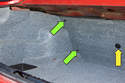 Next you will have to remove trim clips (green arrows) at the seatback area in trunk.