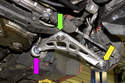 The control arm has three areas of trouble: The ball joint that connects to steering knuckle (yellow arrow), the ball joint that attaches to subframe (green arrow) and the control arm bushing (purple arrow).