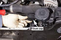 Working at the top of the alternator, remove the idler puller dust cap.