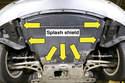 Работая из-под автомобиля, поверните крепления брызговика двигателя на 90 градусов (стрелки), затем снимите его.