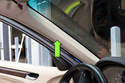 The interior A-Pillar trim (green arrow) on BMW E46 models has a fabric coating that sags and becomes detached over time.