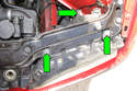 Remove the three 8mm headlight mounting fasteners (green arrows) then remove the headlight from the vehicle by pulling it straight out toward front of vehicle.