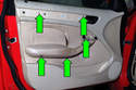Then, remove the five T-20 Torx fasteners (green arrows).