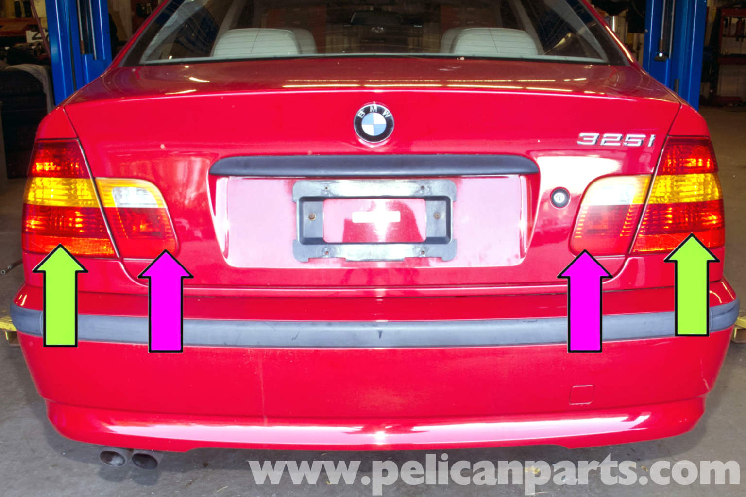 bmw e46 rear tail light replacement bmw 325i 2001 2005. Black Bedroom Furniture Sets. Home Design Ideas