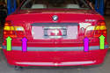 This photo shows the taillight on E46 models: theyï¿1/2re split into two parts.