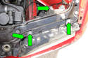 Remove four 8mm headlight mounting fasteners (green arrows) then remove headlight from vehicle by pulling straight out toward front of vehicle.