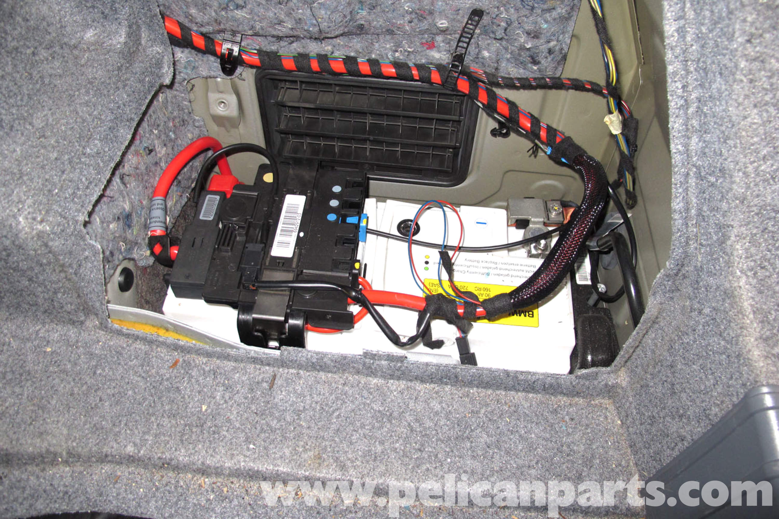 pic01 bmw e90 battery replacement e91, e92, e93 pelican parts diy 2006 bmw 330i fuse box diagram at crackthecode.co