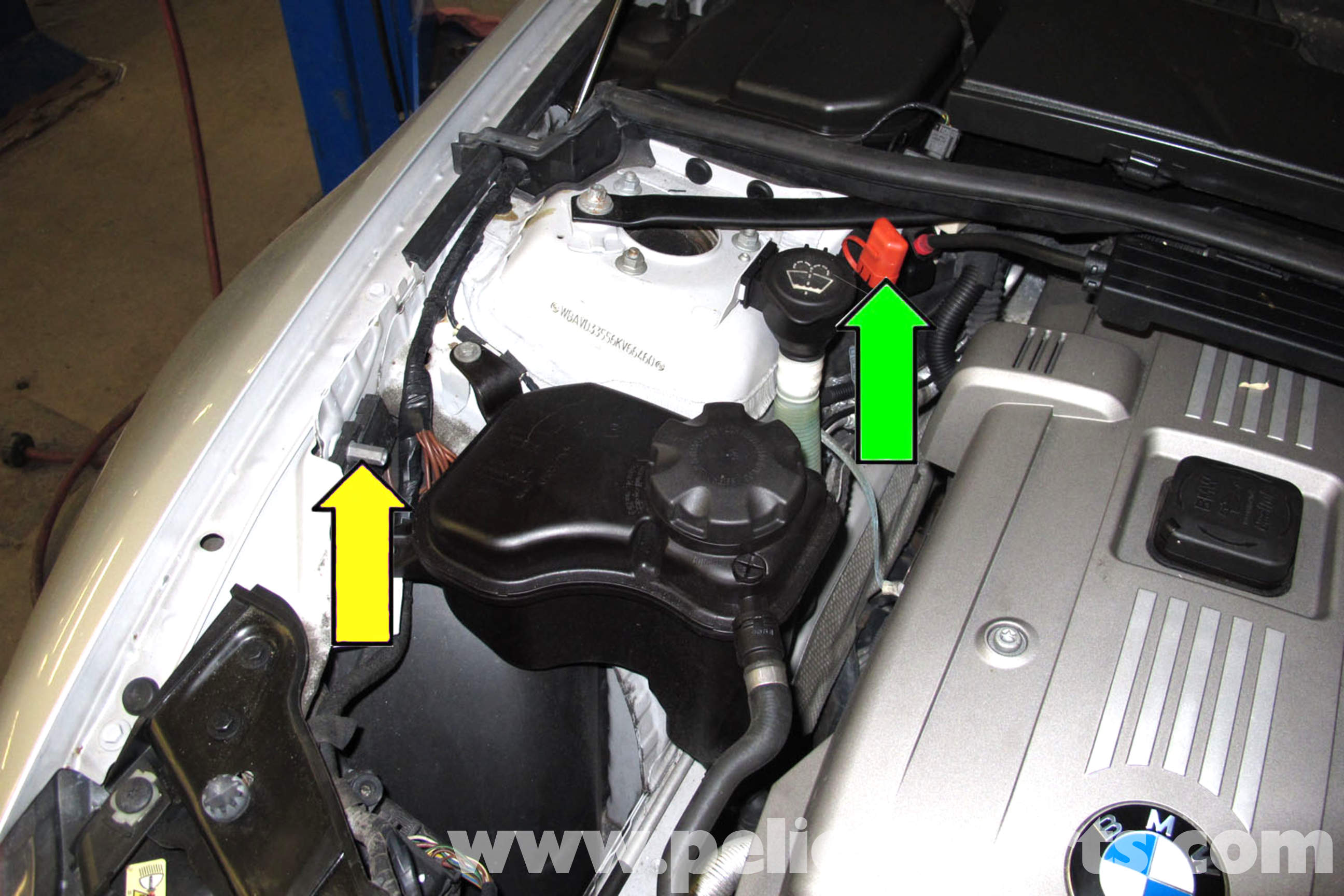 pic02 bmw e90 battery replacement e91, e92, e93 pelican parts diy 2011 BMW E92 Fuse Box Diagram at gsmportal.co