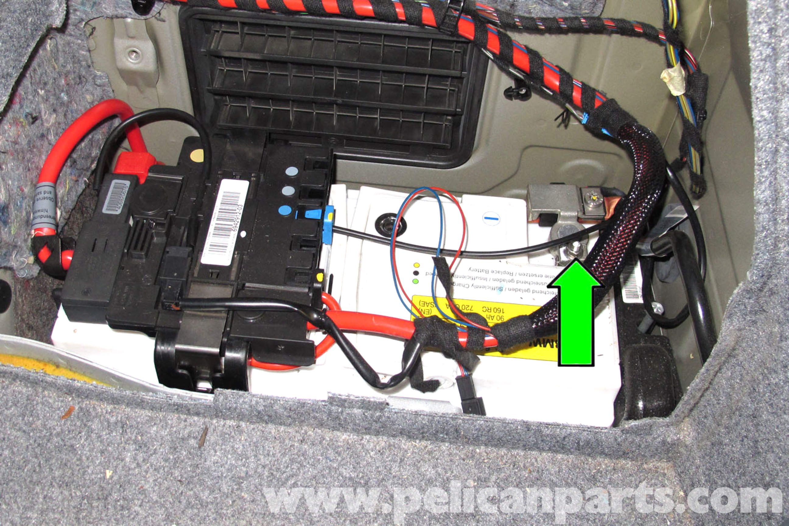 pic05 bmw e90 battery replacement e91, e92, e93 pelican parts diy BMW E46 Wiring Diagrams at bakdesigns.co