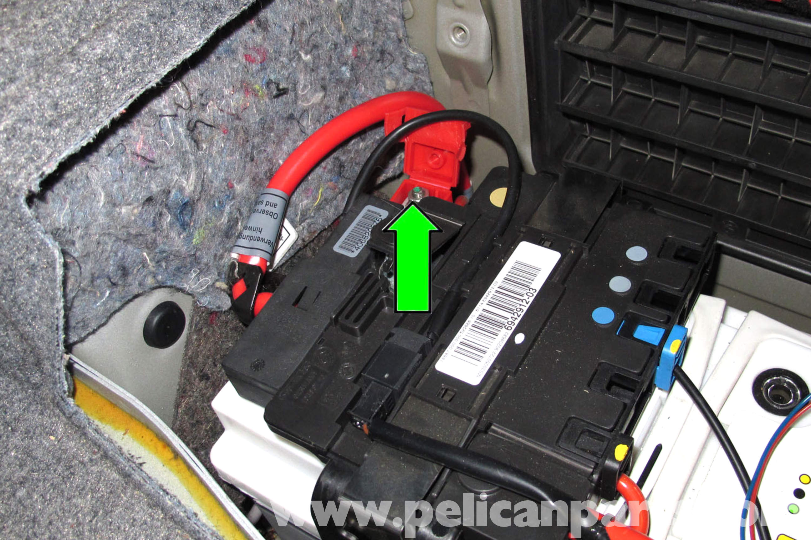 pic09 bmw e90 battery replacement e91, e92, e93 pelican parts diy BMW E46 Wiring Diagrams at bakdesigns.co
