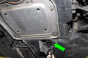 This photo shows the oil drain plug door location on all-wheel drive models.