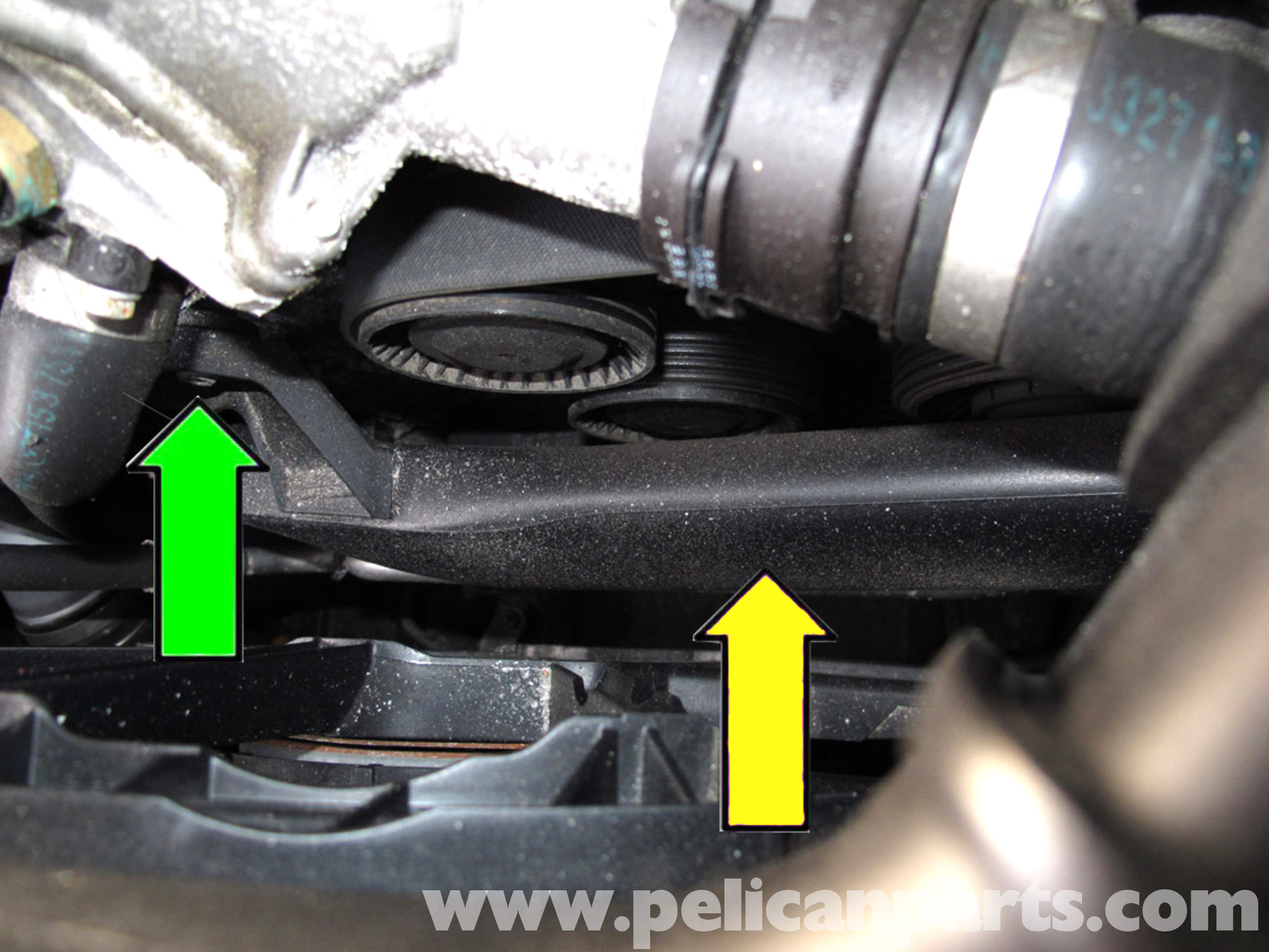 pic06 bmw e90 drive belt replacement e91, e92, e93 pelican parts diy