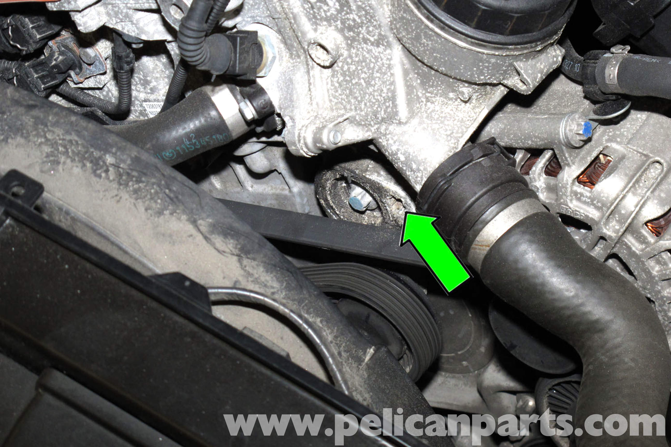 pic08 bmw e90 drive belt replacement e91, e92, e93 pelican parts diy 2006 bmw 325i engine diagram at nearapp.co
