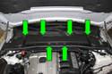 Remove six 8mm cabin microfilter lid fasteners (green arrows).