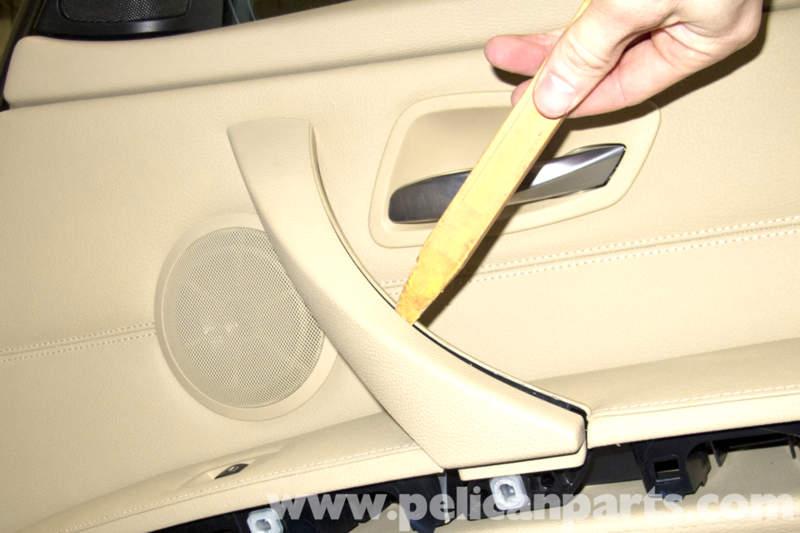bmw e90 door panel removal e91 e92 e93 pelican parts diy BMW E60 M5 next using a plastic prying tool gently lever out door handle trim piece