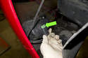 Then slide bumper out enough to access electrical connectors for horn, fog lights, ambient temperature sensor, and headlight washer hoses, disconnect applicable items.
