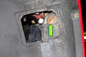 With the access door removed, you can service the turn signal bulb (green arrow).