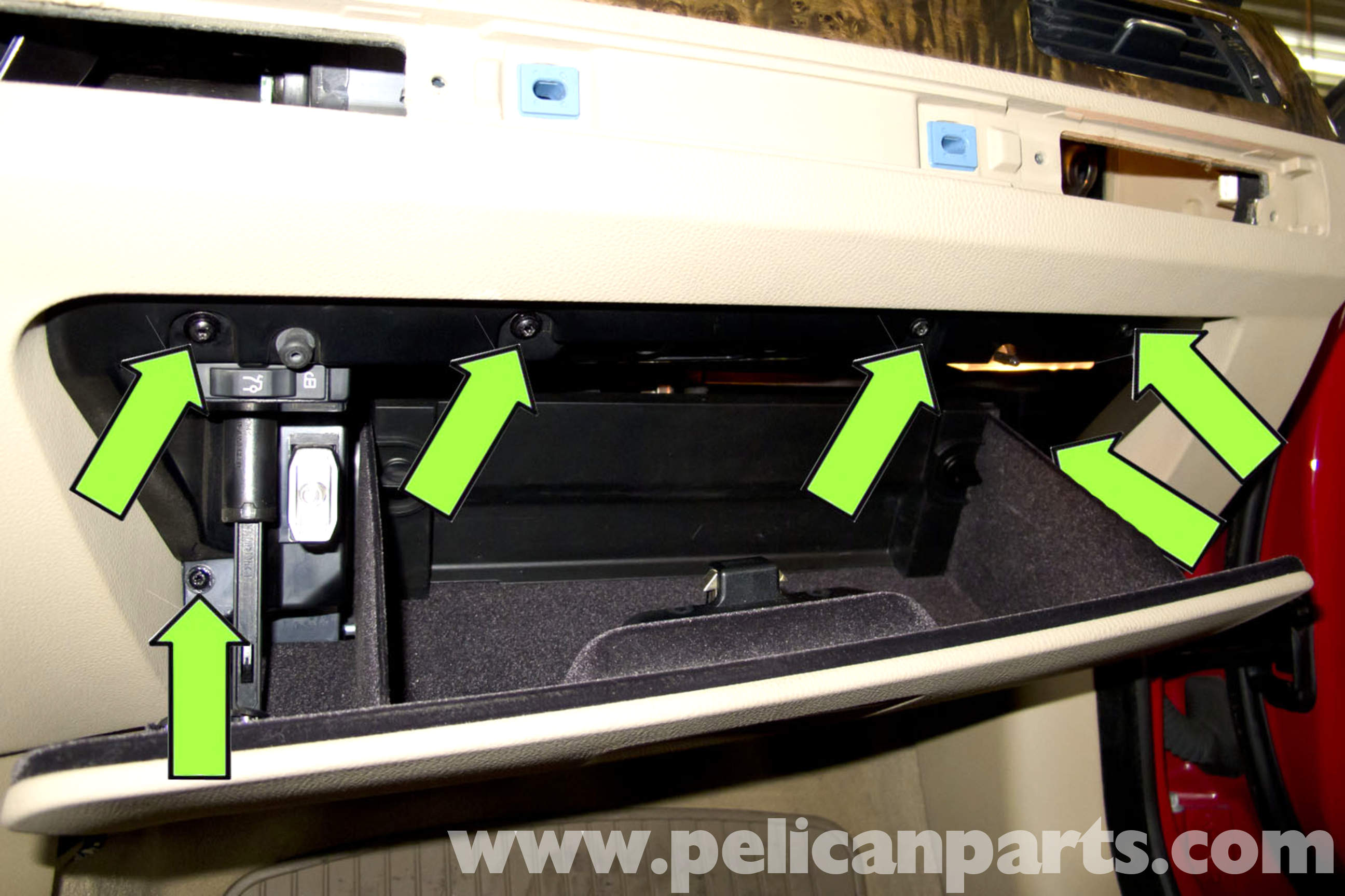 pic04 bmw e90 glove box replacement e91, e92, e93 pelican parts diy e90 m3 fuse box location at arjmand.co