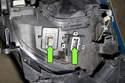 Xenon model, inspect module for corrosion (green arrows).