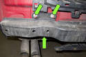 If rear bumper impact absorber needs to be replaced, remove three 18mm bumper impact absorber fasteners (green arrows).