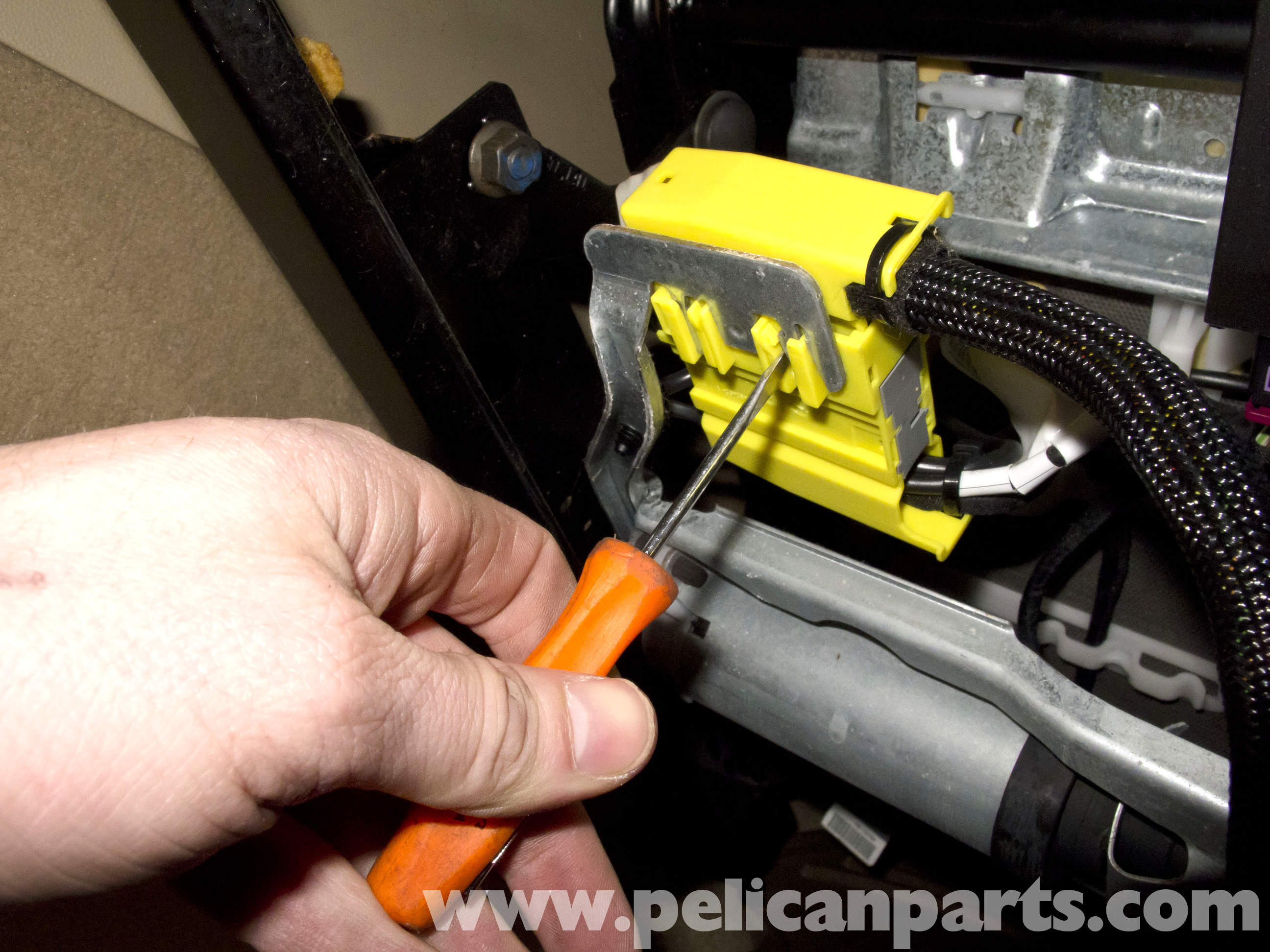 pic06 bmw e90 seat removal and replacement e91, e92, e93 pelican 4 Ohm Speaker Wiring Diagram at mr168.co