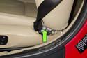 Next, remove T45 Torx seat belt fastener.