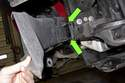 When installing brake duct, align plastic pins with holes in body.