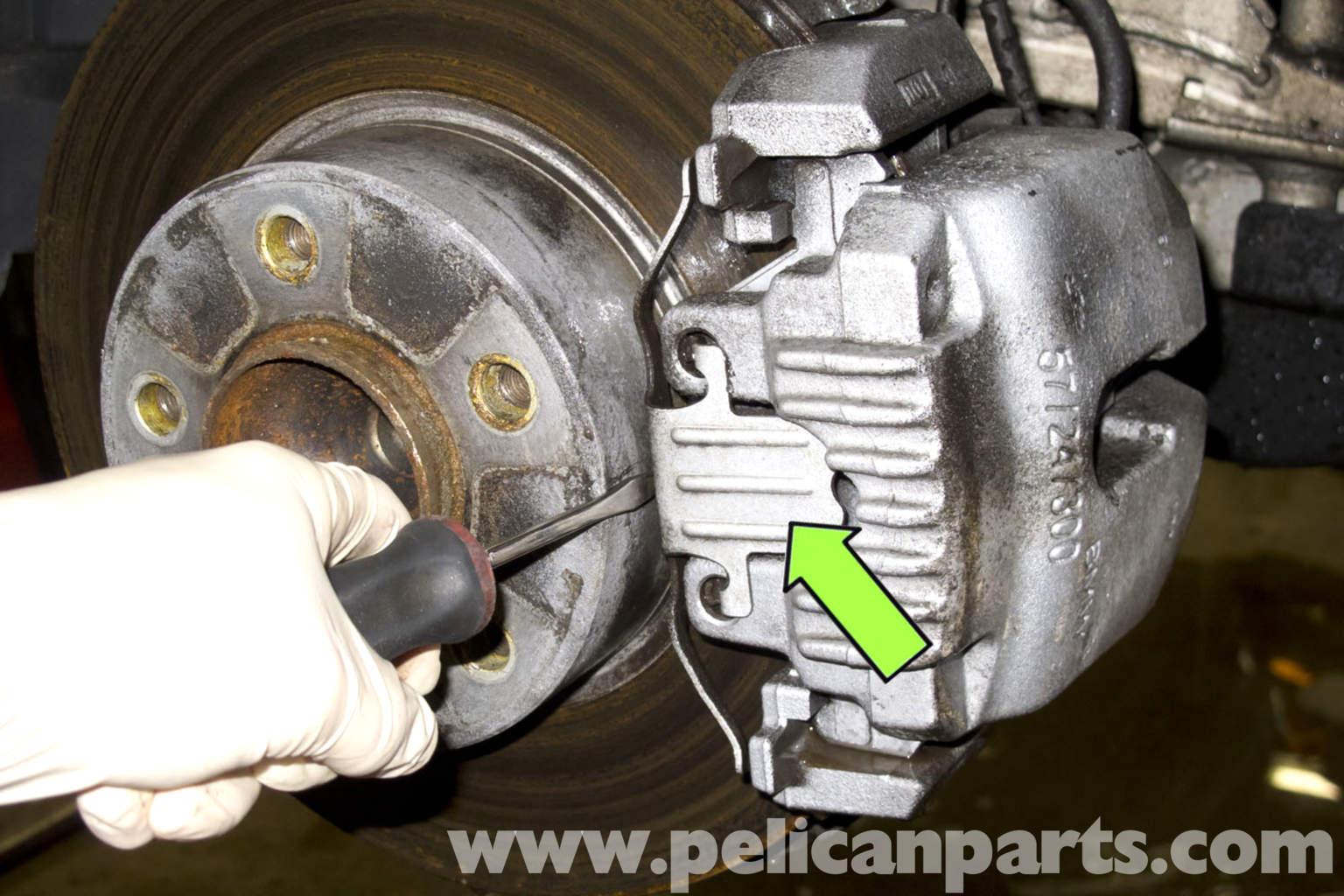 bmw e90 brake pad replacement e91 e92 e93 pelican parts diy large image