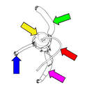 Crankcase breather parts: Pipe to valve cover (green arrow), Crankcase breather (yellow arrow), Drain hose (purple arrow), Pipe to intake manifold (blue arrow), vacuum hose to intake air pipe (red arrow).