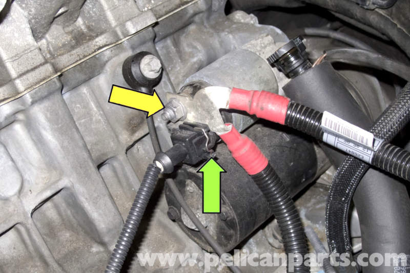pic01 bmw e90 starter replacement e91, e92, e93 pelican parts diy BMW E46 Wiring Diagrams at bakdesigns.co