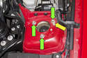 If alignment pin is missing (yellow arrow), remove each strut mounting nut individually (green arrows) and mark location.
