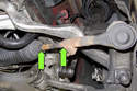 Measure mark installation position of outer tie rod end (green arrows).