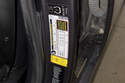 Tire pressure information for your vehicle is located in the driver door jamb on the label shown in this photo.