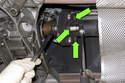 Working at transmission, remove three18mm driveshaft flex-disc fasteners.